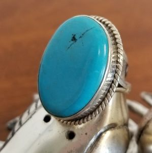 Huge blue turquoise sterling ring